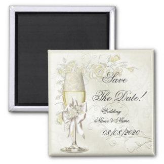 Sauvez la perle de crème d'or de mariage de date f magnet carré