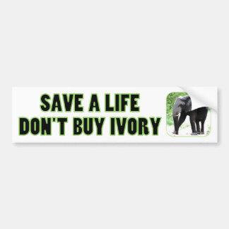Sauvez la vie d'un éléphant, n'achetez pas l'ivoir autocollant de voiture