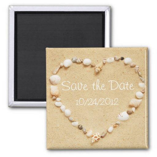 Sauvez l'aimant de coeur de coquillage de date