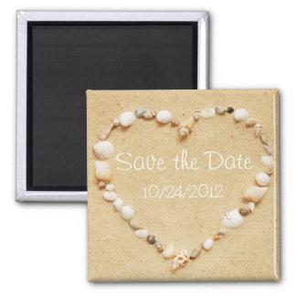 Sauvez l'aimant de coeur de coquillage de date magnet carré