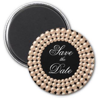 Sauvez l'aimant orné de bijoux de perles de perle  magnet rond 8 cm
