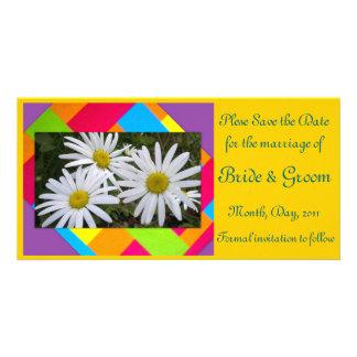 Sauvez le carte photo Date-Blanc de fleur Photocarte Customisée