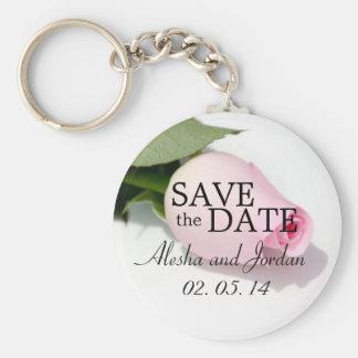 Sauvez le rose de rose de porte - clés de mariage  porte-clé rond