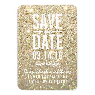 Sauvez le scintillement d'or de la date | ouvrier carton d'invitation 8,89 cm x 12,70 cm