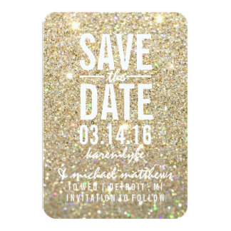 Sauvez le scintillement d'or de la date   ouvrier invitation personnalisable