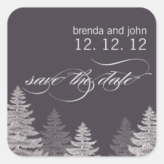 Sauvez les arbres d'autocollant de mariage d'hiver