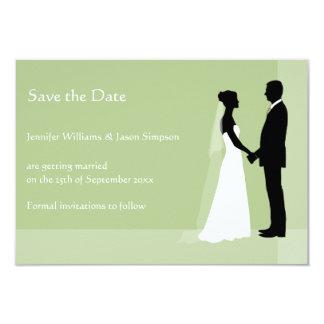 Sauvez les silhouettes de jeune mariée et de marié faire-parts