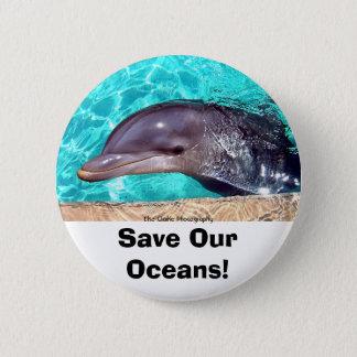 Sauvez nos océans ! Bouton de photo de dauphin Macaron Rond 5 Cm