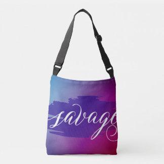 Savage modern watercolor slang word tote bag purse