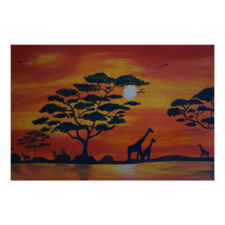 Savanna in sunset poster