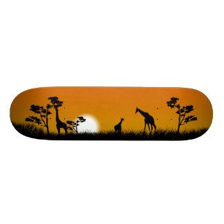 Savanna Sunset with tallgrass, trees and giraffes Skate Boards