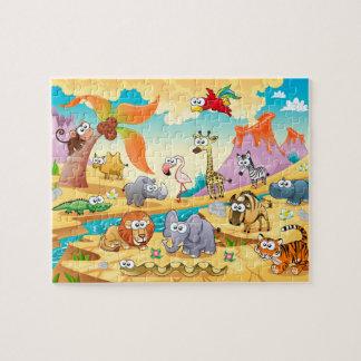 Savannah animals family puzzles