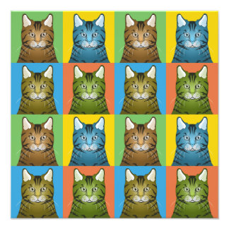 Savannah Cat Cartoon Pop-Art Photographic Print