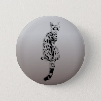 Savannah Cat Caught by Surprise 2 Inch Round Button