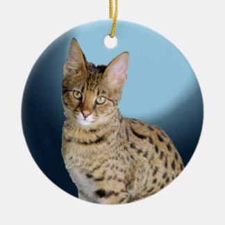 Savannah Cat Round Ceramic Ornament