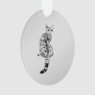 Savannah Cat Silver Ornament