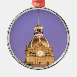 Savannah City Hall Silver-Colored Round Ornament