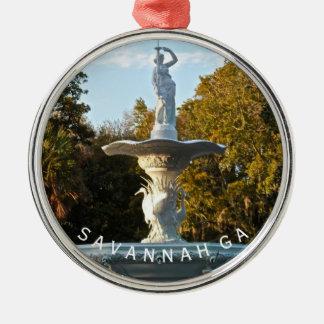 Savannah GA Souvenir | Forsyth Park Fountain Photo Silver-Colored Round Ornament