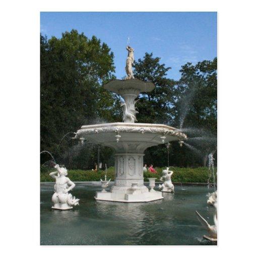 Savannah Georgia Forsyth Fountain Postcard