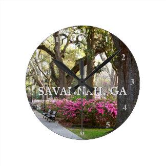 Savannah Georgia Forsyth Park | Springtime Azaleas Wall Clock