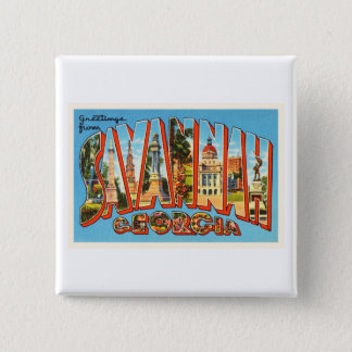 Savannah Georgia GA Old Vintage Travel Souvenir 2 Inch Square Button