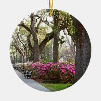Savannah Georgia in Spring Forsyth Park Azaleas Oa Ceramic Ornament