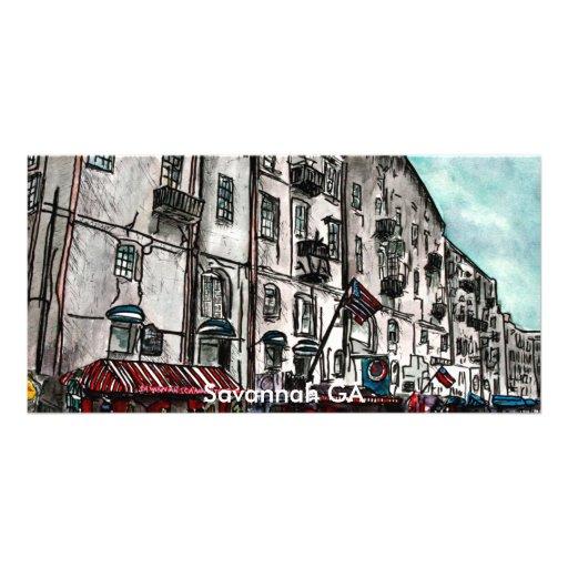 Savannah Georgia River Street art drawing Personalized Photo Card