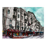 Savannah Georgia River Street art drawing Postcards