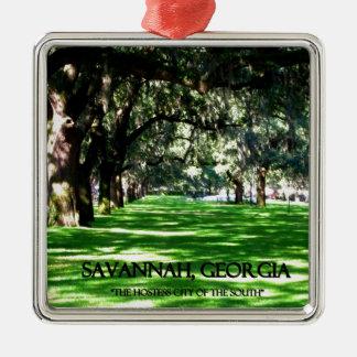 SAVANNAH, GEORGIA Silver-Colored SQUARE ORNAMENT