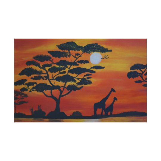 Savannah in the sunset canvas print