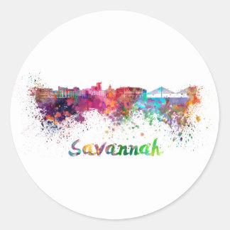 Savannah skyline in watercolor classic round sticker