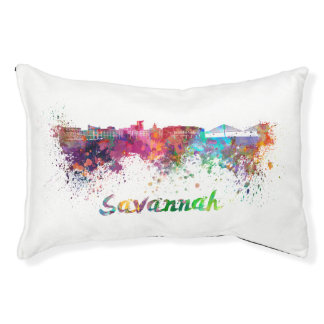 Savannah skyline in watercolor pet bed