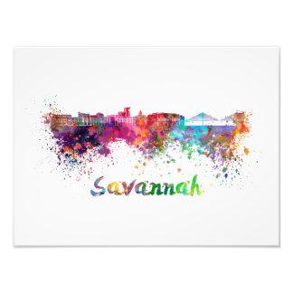 Savannah skyline in watercolor photograph