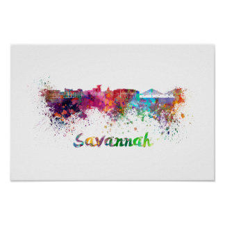 Savannah skyline in watercolor poster