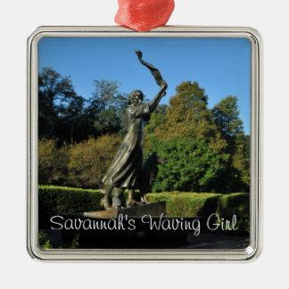 Savannah's Waving Girl Silver-Colored Square Ornament