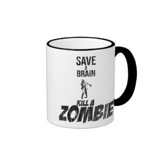 Save a brain Kill a zombie Ringer Coffee Mug