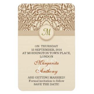save a date monogram elegant floral flexi magnets