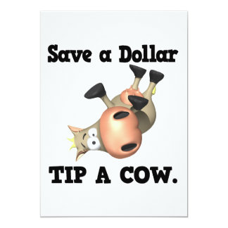 Save a Dollar Tip a Cow Personalized Announcements