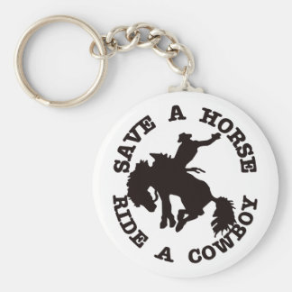 Save A Horse Ride A Cowboy Basic Round Button Keychain