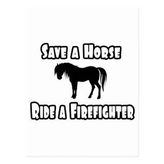 Save a Horse, Ride a Firefighter Postcard