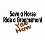 Save A Horse Ride A Groomsman Postcard