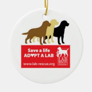 Save A Life Adopt A Lab Ceramic Round Ornament