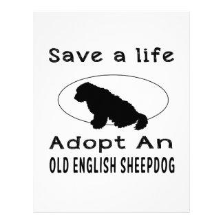 Save a life adopt an Old English Sheepdog Customized Letterhead