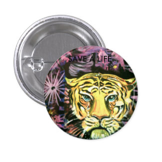 Save a life animal badge 1 inch round button