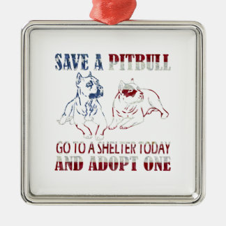 SAVE A PIT BULL GO TO A SHELTER AF3 Silver-Colored SQUARE ORNAMENT