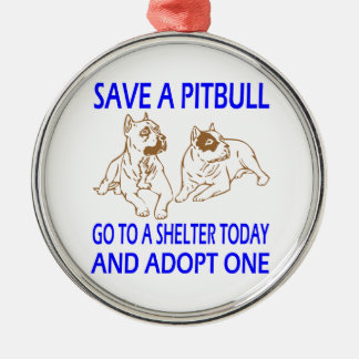 SAVE A PIT BULL Silver-Colored ROUND ORNAMENT