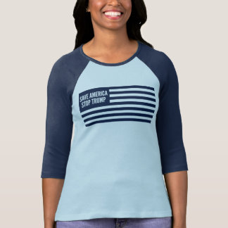 Save America Stop Trump Women Blue Print Ringer T-Shirt