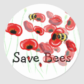 Save Bees and you save yourself Bee art stickers