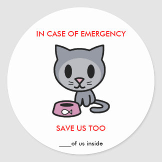 Save Cat -Emergency Classic Round Sticker