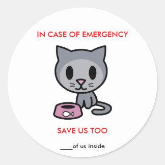 Save Cat -Emergency Round Sticker